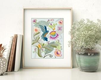 Art Print, Jacobean Inspired, Ready for Framing