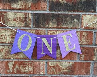 Purple High Chair banner, One banner, Purple high chair, 1st Birthday, Purple birthday high chair, Purple birthday banner, HimaniWorks