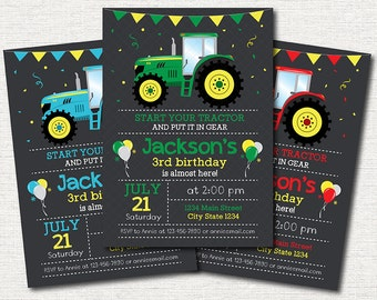 Tractor Birthday Invitation, Tractor Invite, Farmer Invitation, green, red, blue, printable