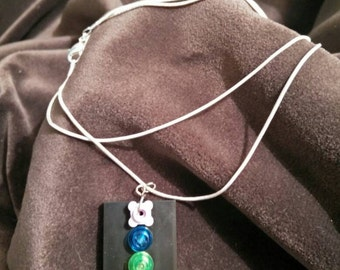 Silver snake chain with Lego pendant