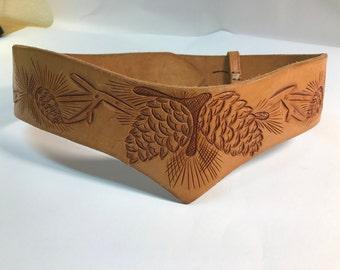 Leather belt embossed