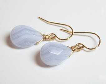 BLUE LACE AGATE faceted gem stone pear briolette 14k gold filled drop earrings Serenity