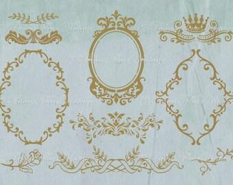 Vintage French Chic Floral Gold Frame & Ornament Set / Individual PNG files / Paris Frames Antique Victorian Graphics By PalaisFleurVintage