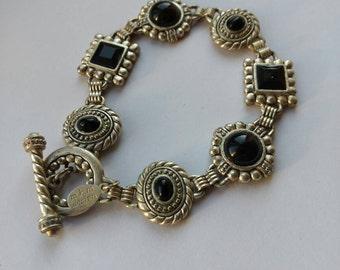 Panel Bracelet - Toggle Clasp - Link Bracelet - Black