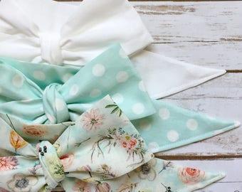 Gorgeous Wrap Trio (3 Gorgeous Wraps)- Blanc, Dottie Pistachio & Boho Floral Gorgeous Wraps; headwraps; fabric head wraps