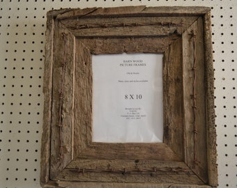 Rustic Barnwood Picture Frame, 8 X 10 Double w/ Barbed Wire. Very Old, very Rustic.