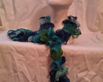 Multi-Blue and Green Ruffle Scarf