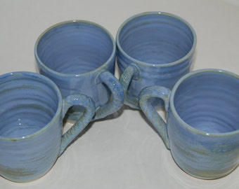 SET of 2 handmade blue pottery cups. Handmade blue ceramic cup set.