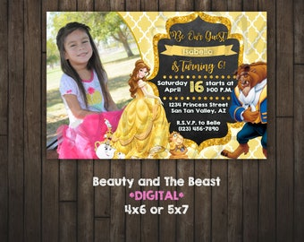 Beauty and the Beast Invitation, Princess Belle, DIGITAL