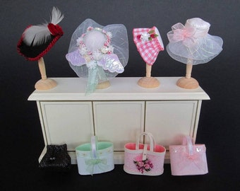 CLEARANCE SALE/SALE!!! Hats and bags 1:12 for dolls and dollhouse. Miniature by Paola&Sara Miniature