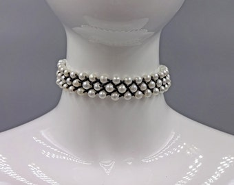 Fresh Water Pearl and Leather Choker