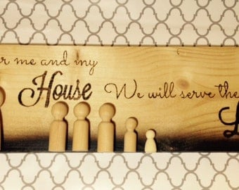 Wood Burned Sign with Wood Peg Family
