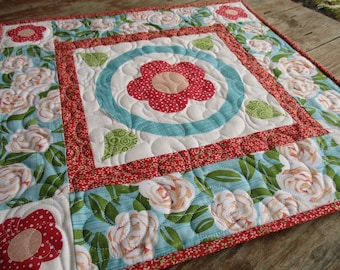 Summer Floral Table Topper, Small Square Quilted Table Topper, Country Raw Edge Applique Flowers, Sun Porch Decor, Mothers Day Gift for Home