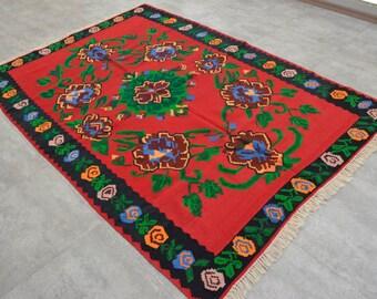 5'2'' x 7'6'' Turkish Kilim Rug Hand Woven Vintage Floral Area Rug Hand-made Kilim 160 x 225 cm CHIC