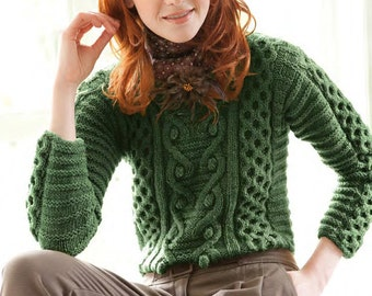 5% off Sale!! Hand knitted  cable green pullover.easy wear sweater.S-M. alpaca-Wool. 27 colors available. Made-to-order
