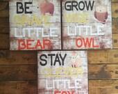 SET OF THREE, Nursery Wall Decor, Rustic Home Decor, Baby Boy Room Decor, Woodland Nursery Decor, Owl, Fox and Bear Decor
