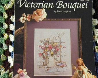 Cross Stitch Pattern Leaflet - Victorian Bouquet by Paula Vaughan, Leisure Arts Book 9 - Flowers, Floral Vase