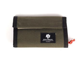 Olive Cordura Wallet with velcro closure