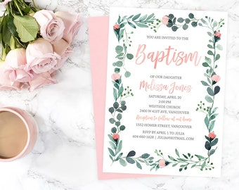 Floral Baptism Invitation, Girl Baptism Invitation, Girl Christening Invitation, 1st Holly Communion, Dedication, First Communion