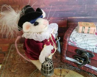 Needle felted mouse, handmade mouse,  Unique gift idea, pirate,  Fiber Artist Collectible.