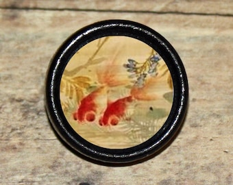 KOI FISH Asian art Goldfish Pendant or Brooch or Ring or Earrings or Tie Tack or Cuff Links