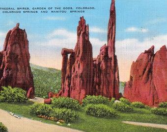 Vintage Postcard Cathedral Spinkes Garden of the Gods Colorado Springs Vintage Postcard 1940's Travel Postcard Paper Ephemera