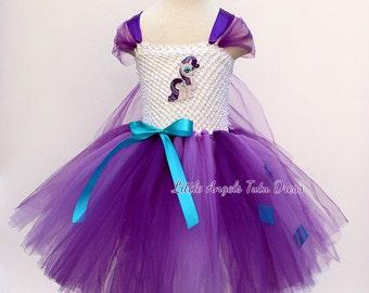 MLP Rarity My Little Pony Tutu Dress - Handmade Fancy Dress, Christmas Present, white Lined Crochet  Top