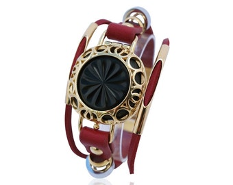Jawbone Up Move leather bracelet Olympia - Red/Gold - made from stainless steel and leather