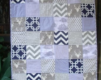 Grey and navy cot quilt, handmade baby quilt, play mat