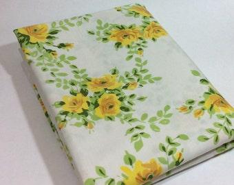 Vintage JP Stevens Utica Yellow Floral Roses Twin Flat Sheet
