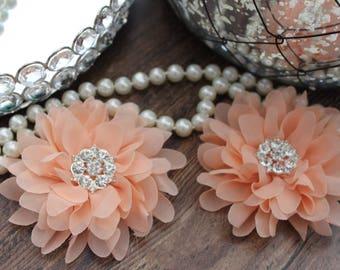 "SET OF TWO - 4"" Peach Large Fluffy Chiffon Flowers - Elegant - Beautiful - Hair Accessories - Wedding - TheFabFind"