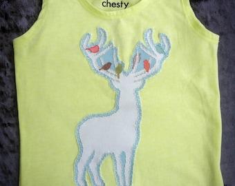 Designer print DEER appliqued baby girl/boy lime green Chesty singlet. Size 1. Christmas gift!
