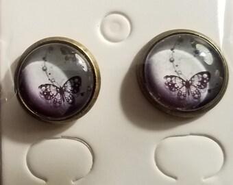 Handmade Glass Bead Black & White Butterfly Stud Earrings