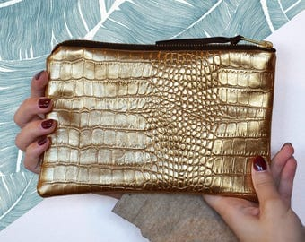 Wallet imitation leather interior gold alligator palm leaves