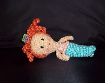 HOLIDAY 2017 SALE!! Crocheted Small Mermaid Doll -Red Hair - Turquoise, Lavender and Pink