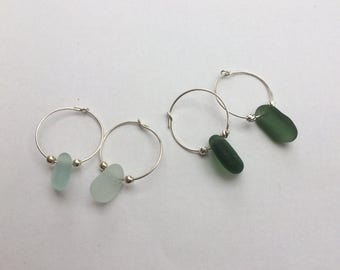 Sea glass hoop earrings/silver sea glass earrings/seaglass earrings/seaglass hoops/sterling silver sea glass earrings/seafoam sea glass