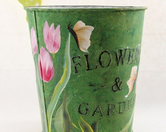 Hand Painted Tin Flower Pot Green with Tulips