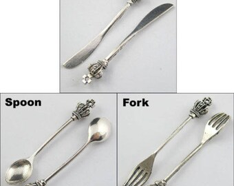 Wholesale 2/8/40pcs Antique Silver Knife, Fork, Spoon, Charms Pendants
