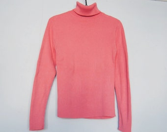 90s Ribbed Turtleneck, Vintage Salmon Pink Shirt - stretchy - tight fitting - long sleeve - chunky - knit turtleneck - 1990s 90s - small