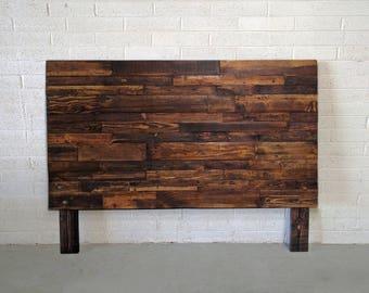 Reclaimed recycled wood brown provincial walnut headboard head board king queen full twin cali california bed pallet beach house cabin