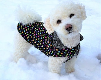 "Black ""Smarties"" Multicoulour Polka Dot Dog Coat with Black Polar Fleece Lining"