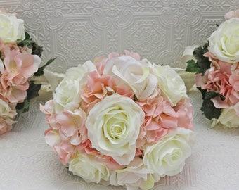 bridesmaids bouquets/set of bridesmaids bouquets/pink  bouquet/hydrangea bouquet/artificial bouquet/set of 3 bouquets/ wedding flowers