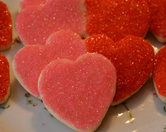 Valentine Sugar Cookies with sugar crystals-Homemade