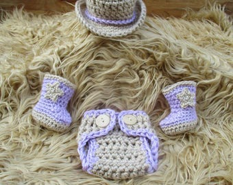 Crochet Baby Cowgirl Outfit Cowgirl Hat and Boots Set Cowboy Baby Girl Outfit Baby Cowgirl Outfit Cowgirl Photo Prop Cowgirl Clothes