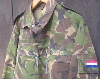 Vintage 1990's Dutch Military Shirt Jacket / Green Brown Camo / Available in sizes Med-Large, Large