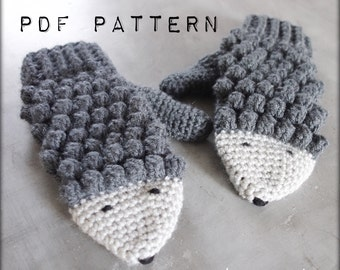 PATTERN PDF #006---Crochet hedgehog mittens