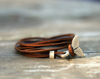 Leather wrap bracelet, womens leather cord bracelet, womens jewelry, fish tail,  best gift, armband herren