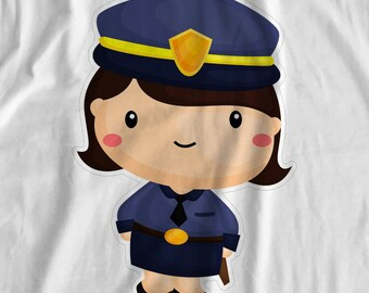 Cops & Robbers - Police Woman - Iron On Transfer