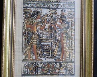 Egyptian Painting in heavy wooden frame