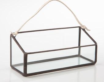 NEW Mini Rectangle Hanger Terrarium // Clear Glass // Planter for Indoors